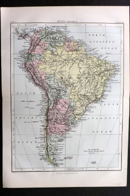 Encyclopaedia Britannica 1875 Antique Map. South America